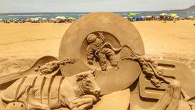 Zand bij bij het strand van Gran Canaria stock afbeelding