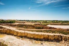 Zand en klei het landschap van de steengroevemijnbouw royalty-vrije stock foto's