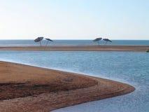Zand en overzees, Egypte Stock Afbeeldingen