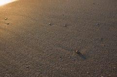 Zand en sommige kiezelstenen met helder stock afbeelding