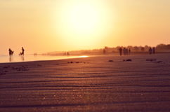 Zand op het strand in zonsondergangtijd Stock Afbeelding