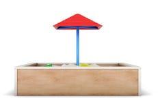 Zandbak op witte achtergrond wordt geïsoleerd die 3d geef image Stock Foto