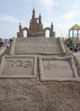 Zandbeeldhouwwerk op het Coney Island-Strand tijdens het 27ste Jaarlijkse Coney Island-Zand die Wedstrijd beeldhouwen Stock Afbeelding