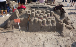 Zandbeeldhouwwerk op het Coney Island-Strand tijdens het 27ste Jaarlijkse Coney Island-Zand die Wedstrijd beeldhouwen Stock Fotografie