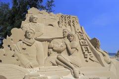 Zandbeeldhouwwerk van dichtersxuzhimo en zijn meisje stock foto's