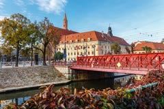 Zandbrug over Odra-rivier, Wroclaw royalty-vrije stock fotografie
