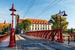 Zandbrug over Odra-rivier, Wroclaw royalty-vrije stock afbeeldingen