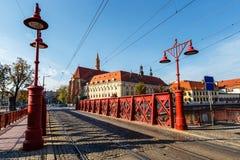 Zandbrug over Odra-rivier, Wroclaw stock fotografie