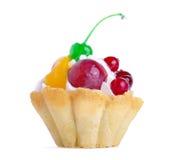 Zandcake met room en fruit Stock Afbeeldingen