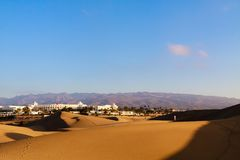 Zandduinen in Maspalomas op Gran Canaria Stock Foto's
