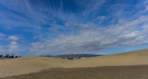Zandduinen op de plaats van Maspalomas op Gran Canaria royalty-vrije stock foto's