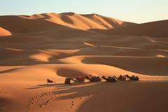Zandduinen in Sahara Desert in Merzouga Marokko royalty-vrije stock afbeeldingen