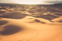 Zandduinen in Sahara Desert, Merzouga, Marokko Stock Foto's
