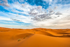 Zandduinen van Erg Chebbi, Marokko Royalty-vrije Stock Afbeeldingen