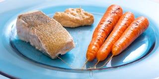 Zander-Fischfilet briet mit Karotten und hummus Lizenzfreie Stockfotos