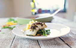 Zander fish fillet dish on a plate Royalty Free Stock Images