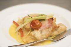 Zander met risotto Stock Foto