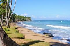 Zandig strand in Caraïbische overzees, Dominicaanse Republiek stock fotografie