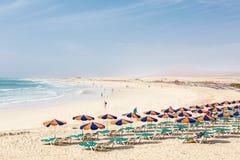 Zandig strand Fuerteventura Royalty-vrije Stock Foto's