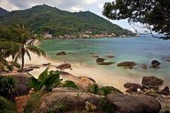 Zandig strand in koh samui, Thailand Stock Foto's