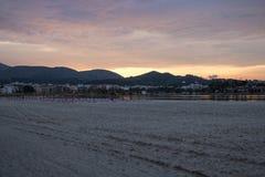 Zandig strand in Mallorca royalty-vrije stock afbeelding