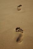Zandig strand met voetafdrukken Stock Afbeeldingen