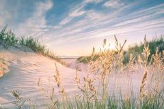 Zandig strand op zonsondergang Stock Foto