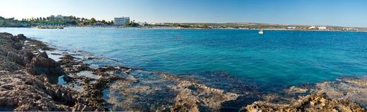 Zandig strand van Cyprus - een parel van Europa Stock Foto