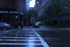 Zandige de orkaan sluit de Stad van New York Royalty-vrije Stock Foto