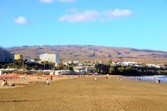 Zandige duinen in beroemd natuurlijk Maspalomas-strand Gran Canaria spanje royalty-vrije stock fotografie