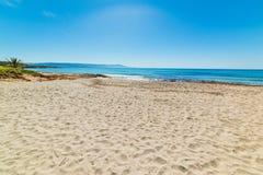 Zandige kust in het strand van Le Bombarde in Alghero royalty-vrije stock afbeelding