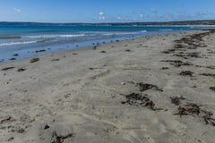 zandige overzeese kust met schoendrukken royalty-vrije stock fotografie