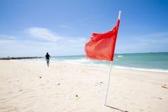 Zandige strand tropische overzees met vlag stock foto's