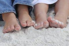 Zandige strandvoeten Royalty-vrije Stock Afbeeldingen