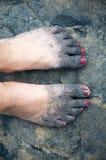 Zandige voeten Royalty-vrije Stock Afbeeldingen