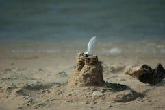 Zandkasteel met een veer en een blazend zand Stock Afbeeldingen