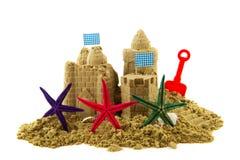 Zandkasteel met zeesterren Royalty-vrije Stock Foto