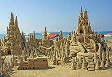 Zandkasteel op het strand royalty-vrije stock afbeelding