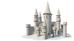 Zandkasteel op witte achtergrond het 3d teruggeven Stock Fotografie