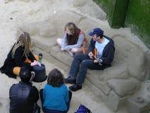 Zandlaag op een strand in Amsterdam Stock Fotografie