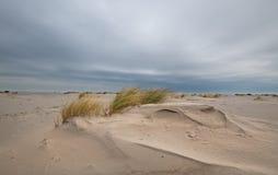 Zandlaag op stormachtig strand onder een donkere hemel Stock Afbeelding
