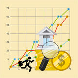 Zandloper, dollar en euro Stock Afbeelding