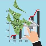 Zandloper, dollar en euro Stock Afbeeldingen