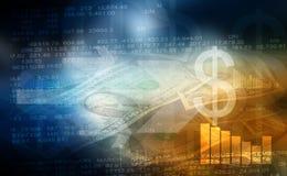 Zandloper, dollar en euro stock illustratie