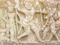 Zandsteen het snijden in Prasat Hin Phimai royalty-vrije stock afbeelding