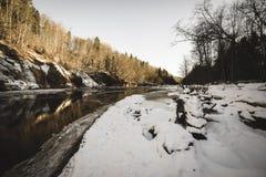 zandsteenklippen op de kust van rivier Gauja in Letland - uitstekende retro ziet eruit stock foto's