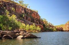 Zandsteenmuren in Katherine Gorge, Noordelijk Grondgebied, Australië royalty-vrije stock foto's