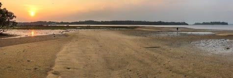Zandvlakten bij Zonsondergang Royalty-vrije Stock Afbeelding