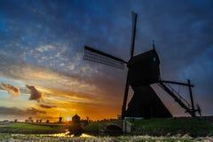 Zandwijkse Molen на заходе солнца Стоковые Фото