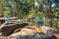 Zandzakbunker van de oude militaire basis Royalty-vrije Stock Fotografie